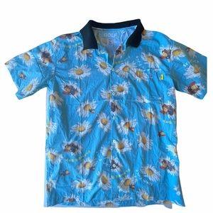 Golf Wang Scum Fuck Flower Boy Button Up Blue Sm
